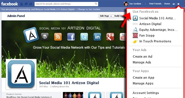 Use Quick Dropdown to Change to Use Facebook As Page