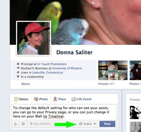 New Facebook Profile Status Update Privacy Setting