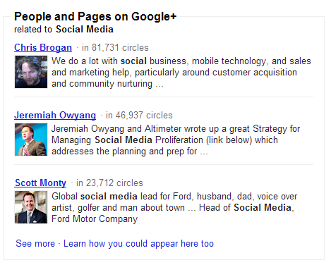 People and Pages Google Search Your World