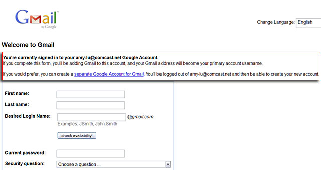 Tip Gmail Sign Up Form