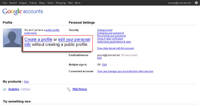 Tip Google Accounts Page
