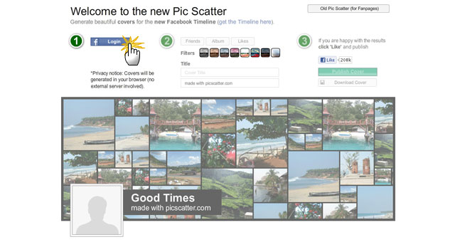 Pic Scatter Facebook Timeline Cover Maker Login