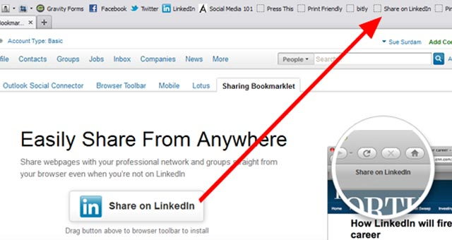 1 LinkedIn Sharing Bookmarklet Install