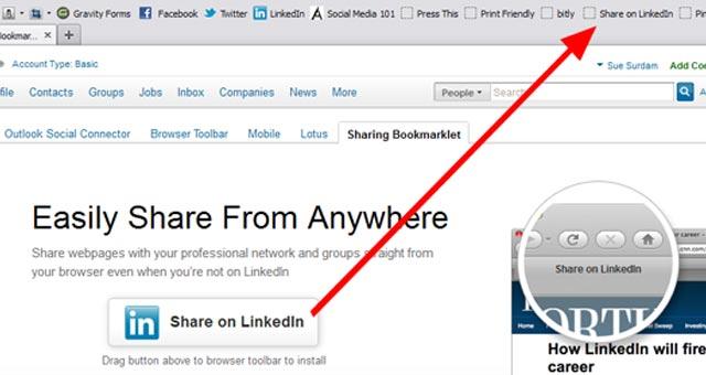 1 LinkedIn Sharing Bookmarklet Install