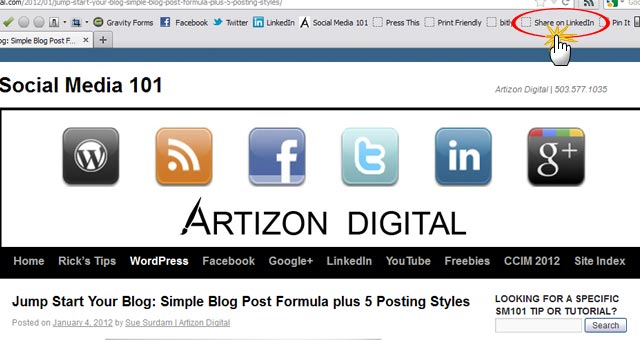 2 LinkedIn Sharing Bookmarklet Click to Share Article