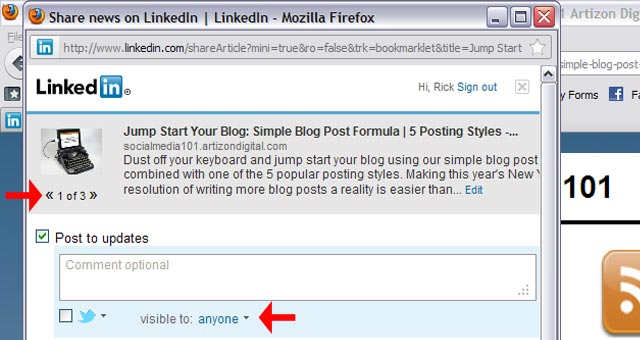 3 LinkedIn Sharing Bookmarklet Choose Your Audience