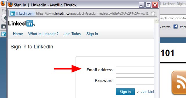 3a LinkedIn Sharing Bookmarklet Login