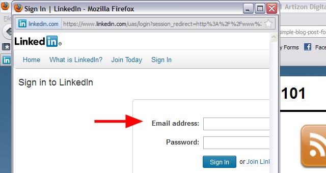 3a LinkedIn Sharing Bookmarklet Login