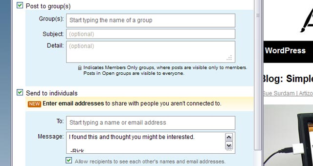 4 LinkedIn Sharing Bookmarklet Choose Your Audience Group