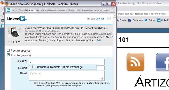 5 LinkedIn Sharing Bookmarklet Select A Group