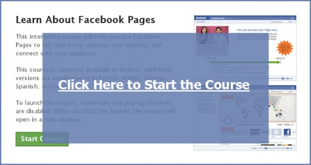 Click to Start the Facebook Pages Course