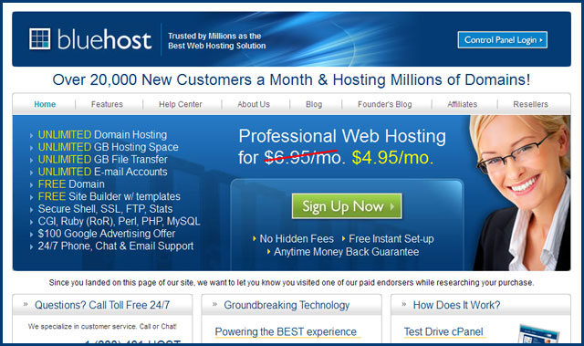 Blue Host Sign Up Page