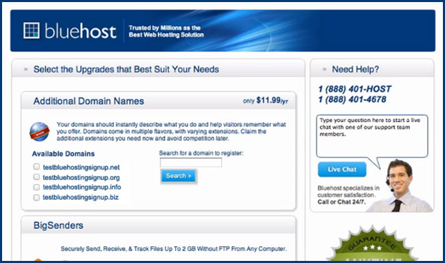 Bluehost Sign up Upgrade Page for New Domain Purchasers